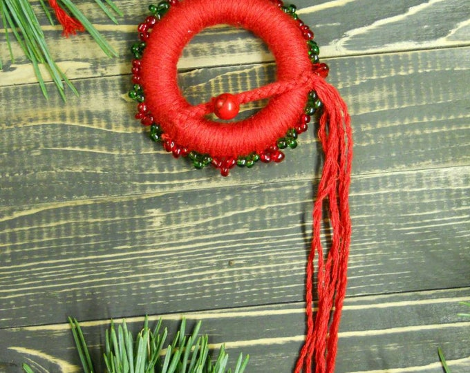 Holiday Gift for Friends Dream Catcher Ornament red Boho Christmas Tree Bohemian Christmas Ornament Set Christmas Decor Mini Dreamcatcher