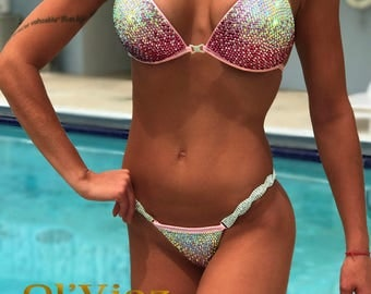 Light&Pink Metallic Spandex Bikini Suit with Crystals/Competition Suit/Posing Suit/Rhinestone Fitness