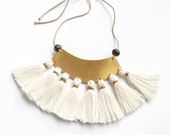 Statement Leather - Tassel Necklace. Halfmoon style.