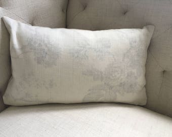 Brunschwig et Fils Pale Grey and White Floral Pillow Cover