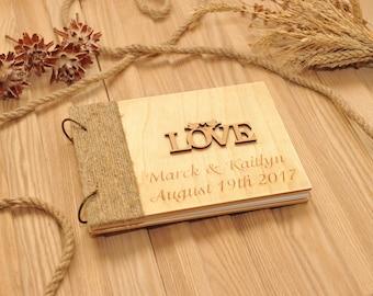 Personalized Guest book, Love photo album, Guest book, photo album, wood album