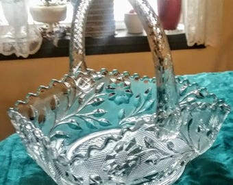 """RARE Westmoreland Wildflower & Lace Clear Crystal Rope-Handled Basket with Scalloped Rim - 8"""" tall - 1920's"""