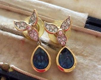Attwood Sawyer Earrings, Attwood Sawyer Jewellery, Attwood and Sawyer, Sapphire Paste Earrings, Vintage Earrings, Gold Earrings, Vintage