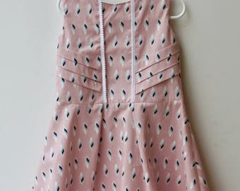 Girl pink floral sleeveless feather dress