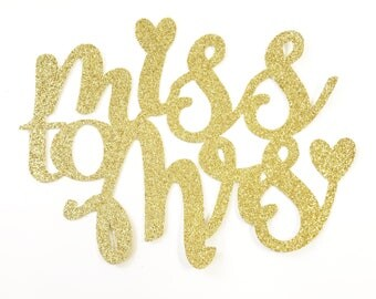 Miss to Mrs Cake Topper - Bride to Be - Bridal Shower Decorations - Bridal Cake Topper - Glitter Bridal Shower Cake Topper - Gold