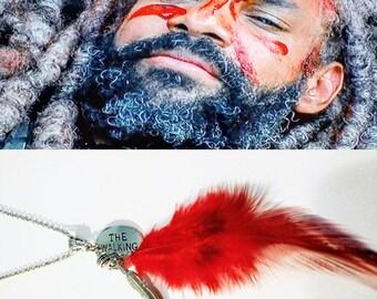 The Walking Dead / Red War Feather / Walking Dead / King Ezekiel  / Feather Necklace