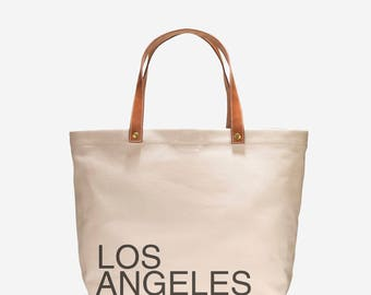 Canvas Tote with Leather Handles - Los Angeles