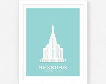 Rexburg LDS Temple Print - Teal Digital Download || Wedding Gift || Anniversary Gift || Christmas Gift