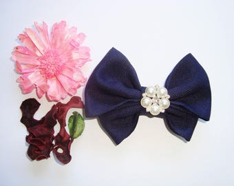 Bow tie Navy Blue brooch with flower beads