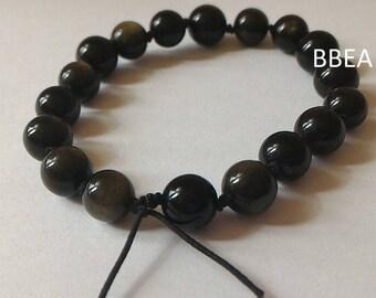 Bracelet Golden Obsidian 8 mm black elastic knots