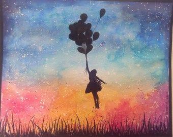 """Watercolor """"my dreams fly"""""""