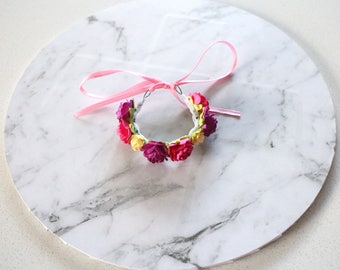 Bright Pink, purple and yellow Flower crown / Bunny crown / Adjustable flower crown for rabbits and small pets