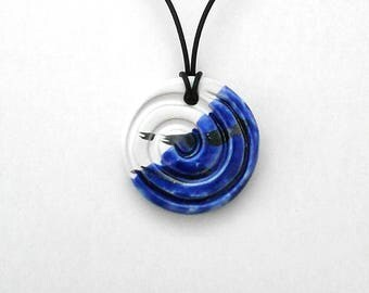 Blue white black blue pendant, necklace, pendant round pendant with blue jewel, spiral