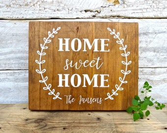 Personalized Home Sweet Home wood sign | last name sign | modern farmhouse | wood sign personalized family name | housewarming wedding gift