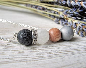 Essential Oil Diffuser Necklace, Aromatherapy Jewelry, Diffuser Jewelry, Lava Stone and Silver Druzy Necklace, FoxAndBearEssentials
