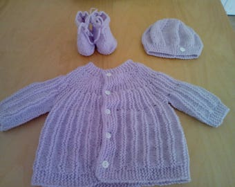 Hat top and lilac baby booties