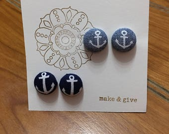 Fabric Button Earrings *2 pair*