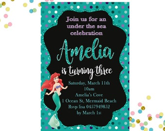 Ariel Invitation, Little Mermaid Birthday Invitation, Mermaid Invitation, Girls Birthday Invitation