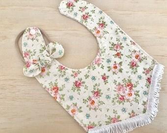 Baby Girl Gift Set Boho Fringe Bib/Bow in Bumble Bee Pink Print