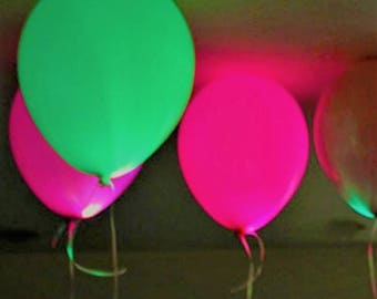 Neon Glow in the Dark Party Decorations Black Light Balloons (pack of 6) - FREE POSTAGE!