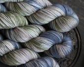 Green denim - Hand Dyed Yarn - Sock Yarn - Fingering Yarn - Superwash Merino / Nylon - 100 gms
