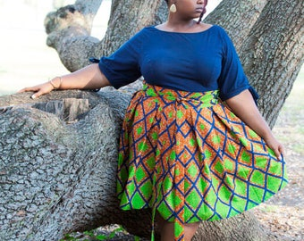 "African Print knee length skirt with belt- ""Yvette"" style in diamond print"
