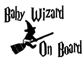 Baby Witch/Wizard On Board Car Decal