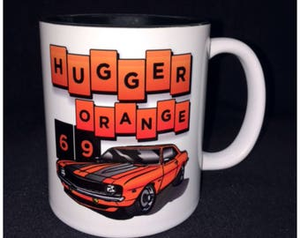 Hot Rod, Custom Car Coffee Mug, Street Rod, Roadster, 69 Camaro, Hugger Orange, Copo Camaro
