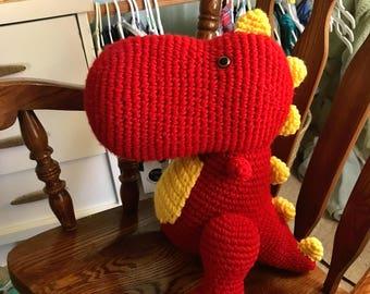 Crochet Plushie T-Rex, Children's Plush Dinosaur, Large Plush T-Rex