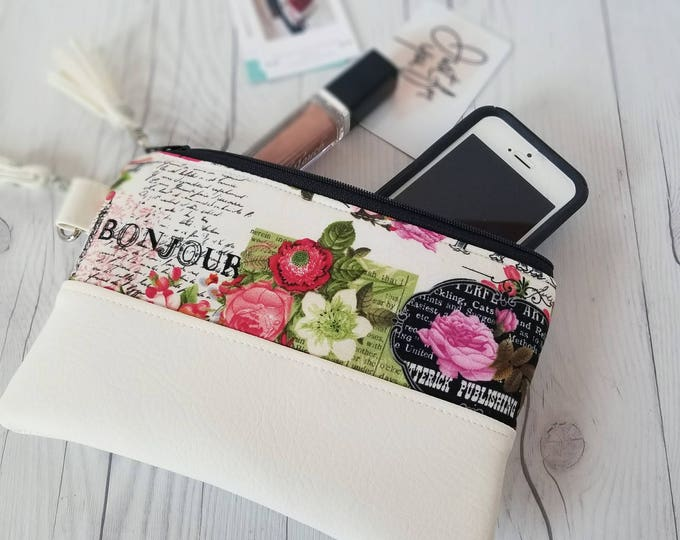 Featured listing image: Pink Green Paris Wallet- Wristlet Wallet - Womens Wallet - Faux Leather - Small Crossbody - Phone Wallet - Wristlet Purse - Paris Print
