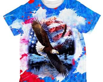 4th of July American Flag Bald Eagle Splatter All Over Toddler T Shirt