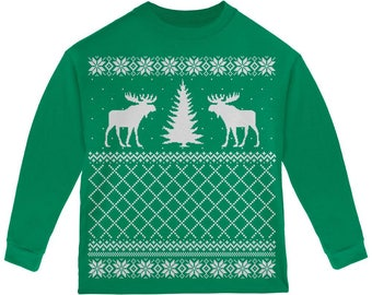 Moose Ugly Christmas Sweater Green Toddler Long Sleeve T-Shirt