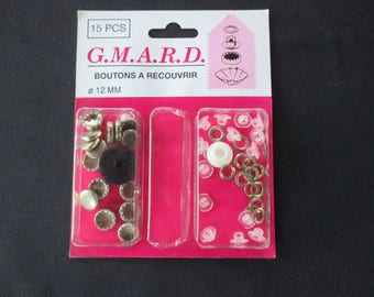 15 cover buttons, Metal, diameter 12 mm.
