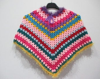 Wool poncho, handmade crochet pattern for girl, multicolor.