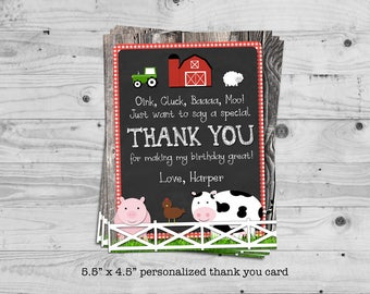 Farm thank you card - personalized with your child's name - digital / printable