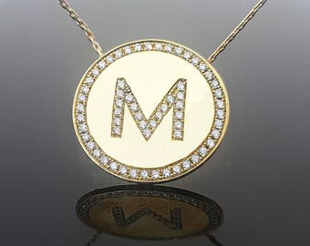 Diamond initial etsy diamond letter necklace diamond initial necklace 14k18k solid gold personalized initial disk mozeypictures Image collections