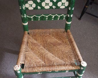 Adult Antique Hand Painted Mexican Folk Art Chair. Local Pick-Up