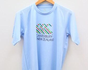 Vintage CANTERBURY Of New Zealand Big Logo Blue Tee T Shirts
