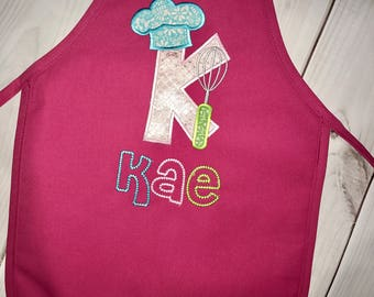 Valentines Day Gifts!  Personalized kids apron, letter K Monogram Appliqué- chefs hat and whisk