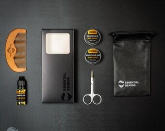 Essential Beard Kit, Grooming Kit, Orange Bergamont, 6 Set, Mens Gift Box, Moustache Wax, Anniversary Gift, Unusual Gift, Mens Grooming Kit