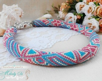 Birthday gift for sister, Beaded necklace, Bold necklace, Colorful jewelry, Bright necklace, Crochet necklace, Romantic wedding, Mother gift