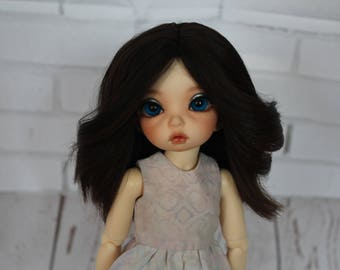 Brown  Alpaca Wig for Littlefee and similar size YoSD dolls head