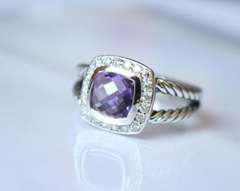 Used David Yurman  Albion Ring with Amethyst and DIAMONDS Size 7