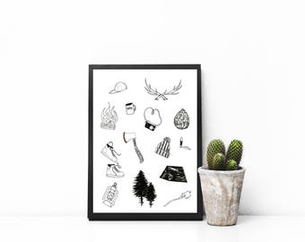 Camping Collage Print