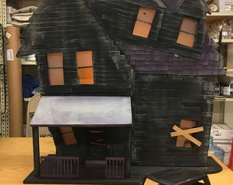 Miniature Haunted House and car for Halloween display  3' tall l lights up highly detailed