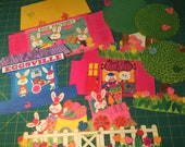 Easter Paper Decorations Vintage Hallmark Bright Colors Bunny Rabbit Punch Outs Spring Decorations Panorama Paper Village Trees Buildings