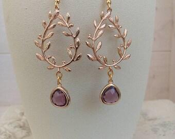 Delicate earrings ' amethyst and champagne earrings