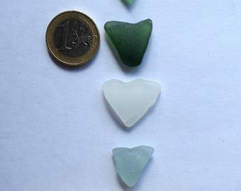 4 Natural Heart Shaped Sea glass pieces,Natural Beach Glass
