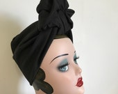 Full Coverage Black 1940s Style Turban/Headscarf with Scrunchie Knot.