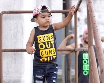 Suns out guns out tank, kids summer tank, summer toddler tank, neon toddler tank, beach tank kids